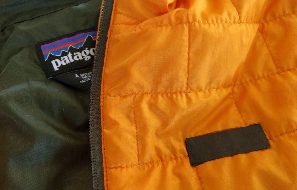 Patagonia jacket with blacked-out logo